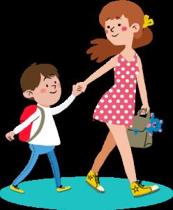 baby-sitter avec un petit garçon à la sortie des classes Dookids