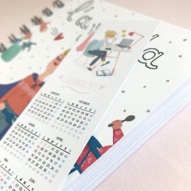 agenda perpétuel des nounous pour 4 enfants marque page calendrier