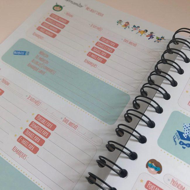 agenda perpétuel des nounous pour 4 enfants numéros des parents, du pédiatre de l'enfant, allergies, remarque santé de l'enfant, date d'arrivée chez nounou