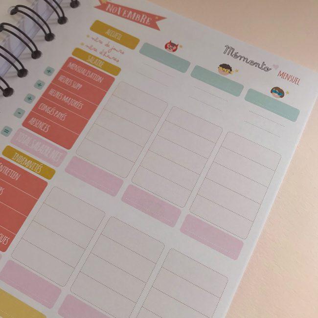 agenda perpétuel des nounous pour 4 enfants récap mensuelle de la mensualisation, heures effectuées, heures sup, congés payés, repas, entretien, indemnités