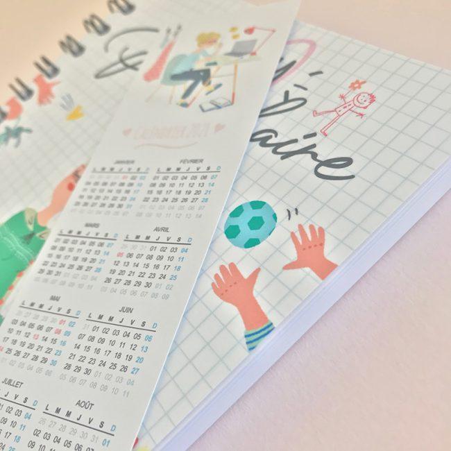L'agenda perpétuel périscolaire pour l'accueil de 2 enfants marque page calendrier
