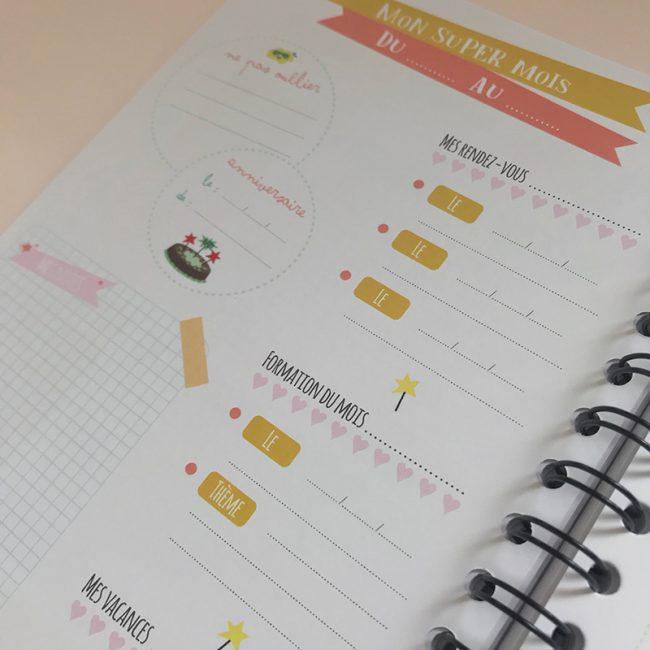 L'agenda perpétuel périscolaire pour l'accueil de 2 enfants mémo semainier anniversaire, rendez-vous, vacances, menu semaine