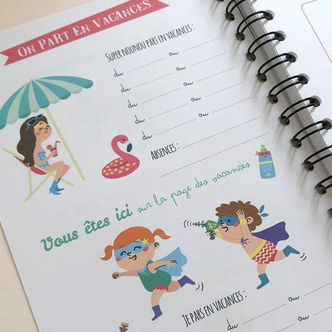 Carnet de liaison parents nounou assmat pour noter les dates des vacances ou des congés de sa nounou