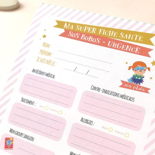 fiche santé fille secours urgence garde d'enfant pour nounou et assistante maternelle détail de la fiche